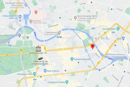 Der Standort des neuen Schlosses mit dem Humboldt Forum in der Berliner City. Screenshot: Google Maps