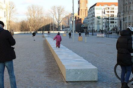 Granite bench, 26 m long.