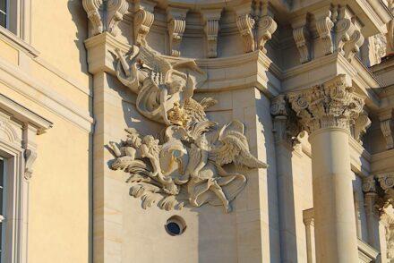 Bildhauerarbeit am Eosanderportal.