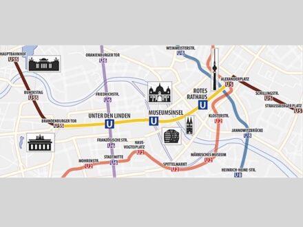 Der Lückenschluss (gelb) in der Linie U5. Quelle: BVG