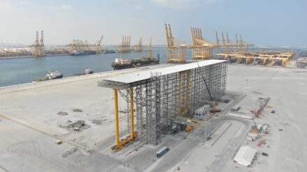 The pilot plant in the Jebel Ali port terminal in Dubai during construction.