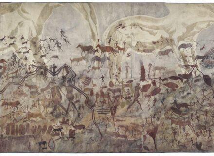 """Joachim Lutz, """"Große weiße Elefanten, Tiere und Menschen in vielen Schichten"""", abgezeichnet 1929 in Ruchera, Simbabwe. Copyright: Frobenius-Institut/Peter Steigerwald"""