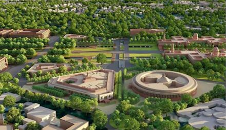 The new (left) and the old parliament building in New Delhi. Rendering: Tata Projects