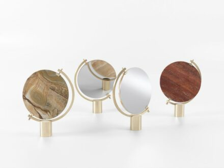 """The vanity mirrors """"Naia"""" by CTRLZAK designers have a conspicuous back available in various types of marble. Shown at the Salone del Mobile fair in Milan 2017."""