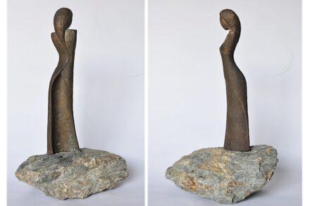 """Simona de Lorenzo: """"Staring at the sea"""", bronze and stone."""
