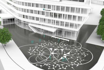 """Entwurf von """"Globe of Glass"""" für den Vorplatz vor dem neuen Fraunhofer-Institut für Energiewirtschaft und Energiesystemtechnik (IEE) in Kassel. Quelle: Davar/HHS/Fraunhofer IEE"""