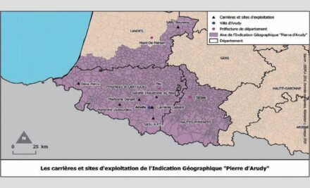 The distribution of Pierre d'Arudy quarries directly on the border with Spain.
