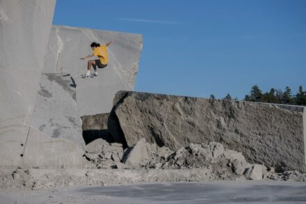 """Didrik Galasso performs an """"Ollie into a bank""""."""