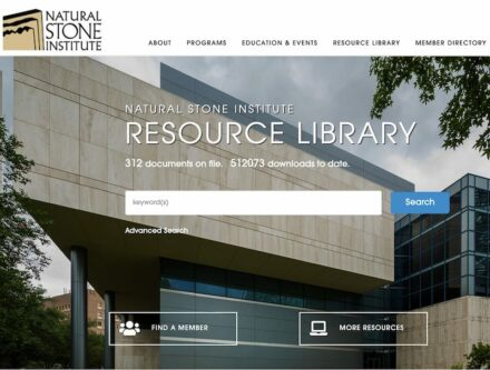 The webpage giving access to the Natural Stone Resource Library.