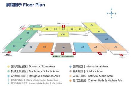 The floor plan of Xiamen Stone Fair 2021.