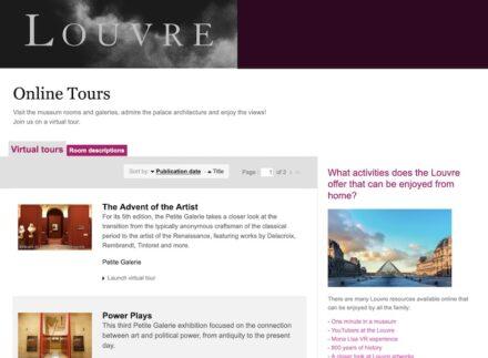 """Die Webpage """"Visites En Ligne"""" des Louvre (bearbeitet)."""