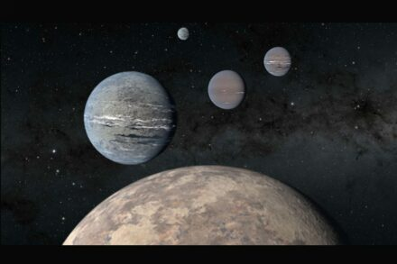 Artist rendering of a five-planet system around TOI-1233 with a super-Earth (foreground) that could help solve mysteries of planet formation. The four innermost planets were discovered by high schoolers Kartik Pinglé and Jasmine Wright alongside researcher Tansu Daylan. Credit: NASA/JPL-Caltech