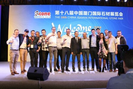 The Gaul tribe at the end of the dinner reception at Xiamen Stone Fair 2018. Right Corinne Berger, Claude Gargi is 4th from left, in the second row. In the center with the wine glass Jacques Thibaut, head of the machine manufacturer Thibaut. To his right, the general manager of the fair, LAI Guoxiang.