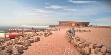 Rendering of the Pikes Peak Summit Visitor Center.
