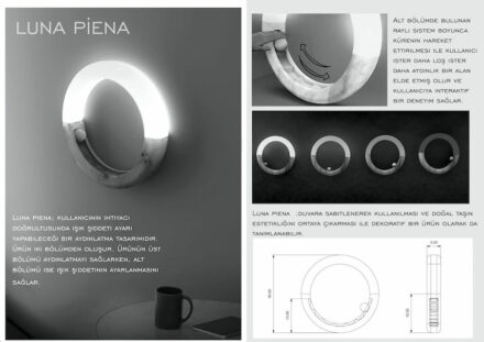 "1st prize, students: ""Luna Piena"" (Full Moon) by Simay TOKUŞ: by playing with the brightness, the user can also play with the effect of the marble. A rail system with a ball in the lower part of the lamp is used to adjust the brightness. Partitions allow fixed settings."
