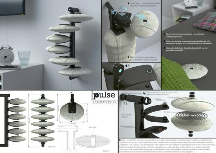 "Design professionals, honorable mention: ""Pulse"" by Alican FAYDALI: an electric heater whose individual elements can be removed and placed elsewhere. As a reminder, in the past, people took to bed in the winter warmed stones."