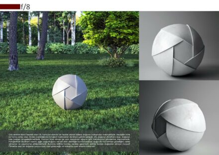 "Design professionals, honorable mention: ""F/8"" by Nihal KONAR NAŞ KARSAN: an outdoor sculpture whose shape is reminiscent of the lens of a camera. Is that nature observing people?"
