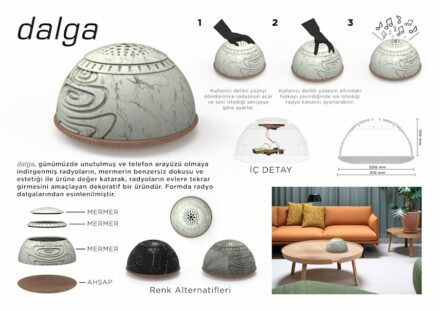 "Students, honorable mention: ""Dalga"" by Mustafa Can Tözün ATMACA and Enes TOPLUGÜL: the good old radio and its speakers get a modern ""face"" on a wooden shelf with the marble capsule."
