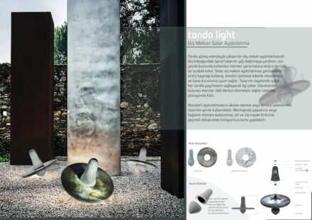 "Design professionals, honorable mention: ""Tondo Light"" by Hadiye ÖZDEMİR: a 360 degree rotating lamp with solar cells for outdoor use. Marble combined with another natural material."