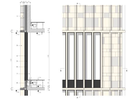 Precast Stone as moldings and pilasters in front of the windows.