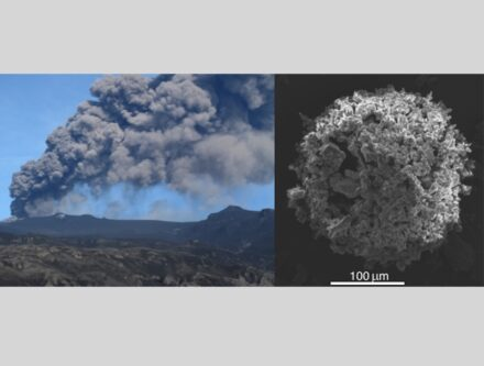 Volcanic plume associated with the April-May 2010 eruption of Eyjafjallajökull volcano (Iceland) and Scanning Electron Microscope image of a typical ash cluster made of micrometric volcanic particles collected on an adhesive paper during fallout. Credit: UNIGE, Costanza Bonadonna
