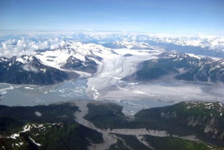 Glaciers such as the Yakutat in Southeast Alaska, shown here, have been melting since the end of the Little Ice Age, influencing earthquakes in the region. Photo: Sam Herreid