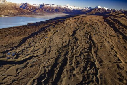 Moraines constructed during repeated advance-retreat cycles of one of the glaciers that extended out from the Southern Alps in New Zealand during the last ice age. Photo: Aaron Putnam
