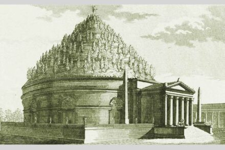 "A reconstruction of the mausoleum by Luigi Canina, ""Gli edifizi di Roma antica,"" 1851. Source: <a href=""https://commons.wikimedia.org/""target=""_blank"">Wikimedia Commons</a>, <a href="" https://en.wikipedia.org/wiki/Creative_Commons_license""target=""_blank"">Creative Commons License</a>"