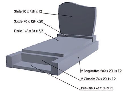 The model of a tombstone examined for the study.