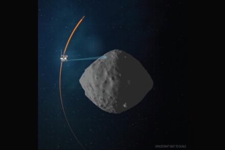 This artist's concept shows the planned flight path of NASA's OSIRIS-REx spacecraft during its final flyby of asteroid Bennu, which is scheduled for April o7. Source: NASA/Goddard/University of Arizona