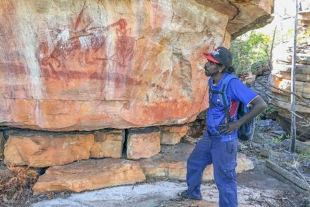 Young Dakal clan landowner Desmond Lindsay visits this site on his country for the first time. Source: Mimal Land Management Aboriginal Corporation (MLMAC)