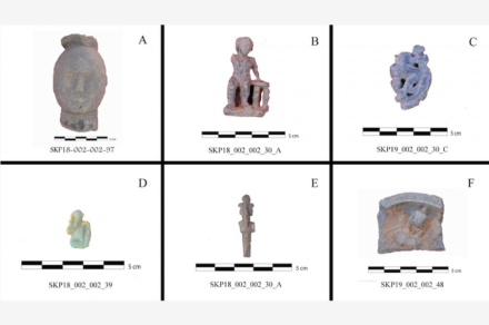 """Materials recovered from the Large Temple: a) """"Nubian"""" head in steatite; b) steatite goddess figurine; c) figurine of a god riding an animal; d) faience Harpocrates amulet; e) bronze Osiris amulet; f) steatite dish. Source: Delia Eguiluz Maestro and Adriana Molina Pérez"""