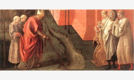 "St. Fredianus rediverts the Serchio River into a new river bed so that the city of Lucca is no longer threatened by flooding. Source: Filippo Lippi, <a href=""https://commons.wikimedia.org/""target=""_blank"">Wikimedia Commons</a>, <a href="" https://en.wikipedia.org/wiki/Creative_Commons_license""target=""_blank"">Creative Commons License</a>"