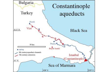 Der 426 km lange Aquädukt von Konstantinopel. Illustration: Cees Passchier