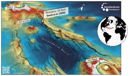 Dreidimensionale Karte des jungen submarinen Dehnungsbeckens des Hirondelle Basin mit dem jungen Vulkan Joao de Castro und den Vulkaninseln Terceira und Sao Miguel in den Azoren, Atlantischer Ozean. Quelle: Karsten Haase