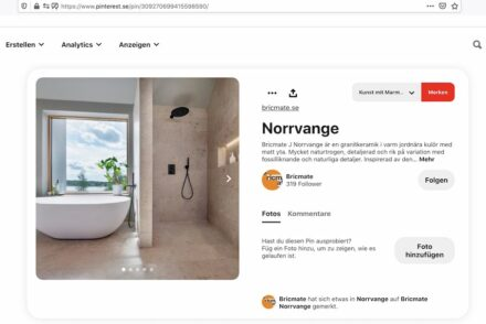 Screenshort of Bricmate's Pinterest page with the Norrvange product name for one of its ceramics.
