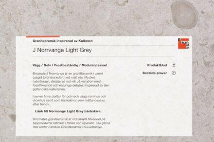 """Screenshort of Bricmate's webpage using the """"Granitkeramik"""" name."""