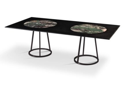 """Budri and Maarten De Ceulaer: """"Pantheon Rectangular"""". Rectangular living table, background in Nero Belgio marble, circles in Opera d'Arte marble. Table feet in brushed metal, matt black. Dimensions: 47,2 x 94,4 x h 30 inch - ø foot base 22,6 inch."""
