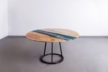 """Budri and Maarten De Ceulaer: """"Pantheon Round"""". Round living table in Louis Blue marble. Table feet in brushed metal, matt black. Dimensions: ø 60 inch x h 29,5 inch - ø foot base 25 inch."""