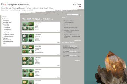 """Die Webpage der österreichischen Geologischen Bundesanstalt mit dem Titel Titel """"Geologie ist rund – Euro2020""""."""