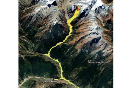Computer modeling of the Chamoli rock and ice avalanche. Credit: Ashim Sattar, University of Zurich (UZH)