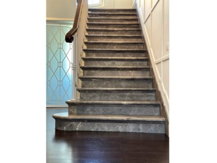The client also wanted the stairs to be made of natural stone.