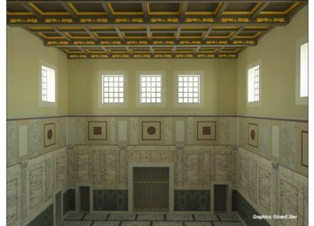 Rekonstruktion des Saals für Repräsentation und für Gastmahle im Hanghaus 2 in der antiken Stadt Ephesos. Grafik: Ivan E. Iliev