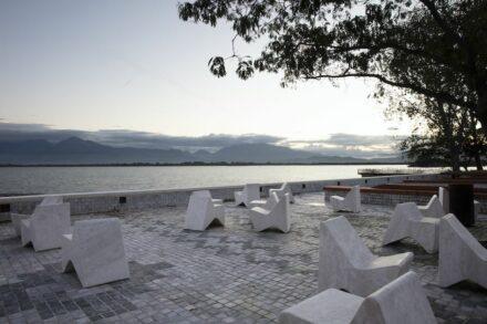 "Casanova+Hernandez: granite paving like an ""Albanian carpet""."