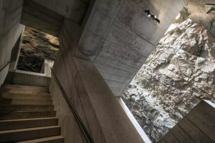 The visitor path leads through the interior of the rocks.