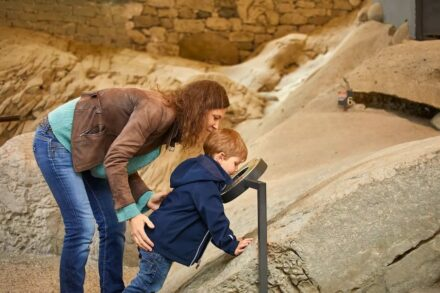 Fossils can be explored along the path and...