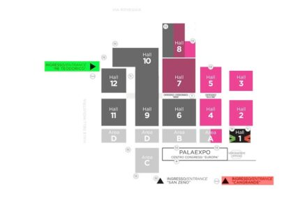 Overview of the halls and the entrances. Re Teodorico is marked in green.