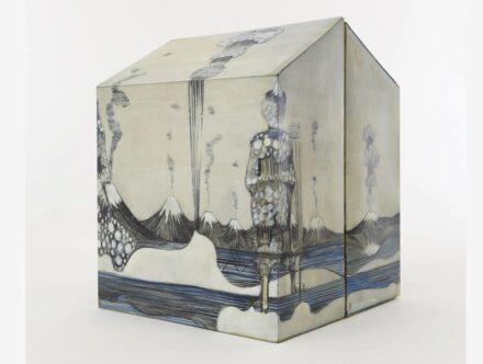 "Sandra Vásquez de la Horra: ""La Tierra de Algallù"", graphite and watercolor on paper with wax, 30 x 24 x 24 cm."
