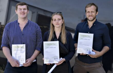 The 3 winners at the 1st Natural Stone Design Competition in Sweden: (from left to right) Enes Musa, Alissa Nyberg, Peder Nilsson (1st prize).