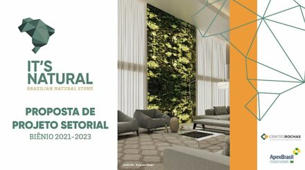 """Cover of the concept paper """"It's Natural – Brazilian Natural Stone""""."""